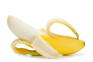 Half-peeled banana